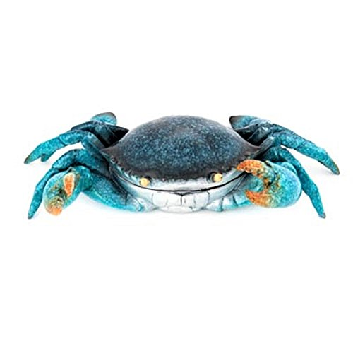 Pewter Box - Nauti Bright Blue Polystone Crab Trinket Box for Jewelry and Keepsakes 9.5