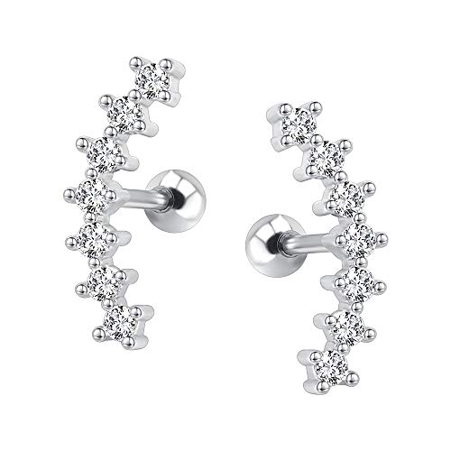 - Curve Seven Stud CZ Stud Earrings 316L Stainless Steel Ear Helix Conch Cartilage Piercing (White)