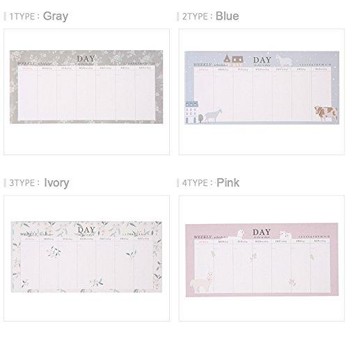 08a22b7fab40 2-Pack, Lovely Tear Off Desktop Weekly Planner Pad Undated Calendar ...