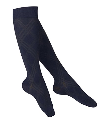 - TOUCH Compression Socks for Women, 15-20 mmHg, Argyle, Cotton, 1 Pair, Navy, Small