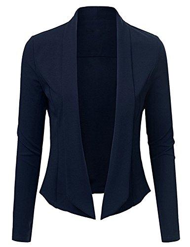 ARCITON Women s Lightweight Summer Long Sleeve Open Front Blazer Jacket Dark Blue M