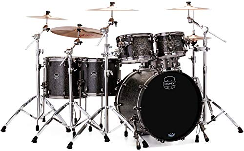 (Mapex Saturn V MH Exotic 5-piece Shell Pack - Flat Black Maple Burl)