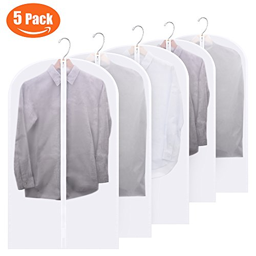 FU GLOBAL Top Quality Easy Organize Travel Cloth Bag, Set of 5 units Clear Zipped Suit Bags Zipper Garment Clothes Covers - 40 Inches Long (Zipper Trouser Plastic)