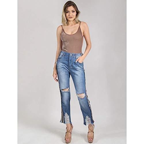 Calça Jeans Boyfriend Com Retilínea Na Lateral - 36