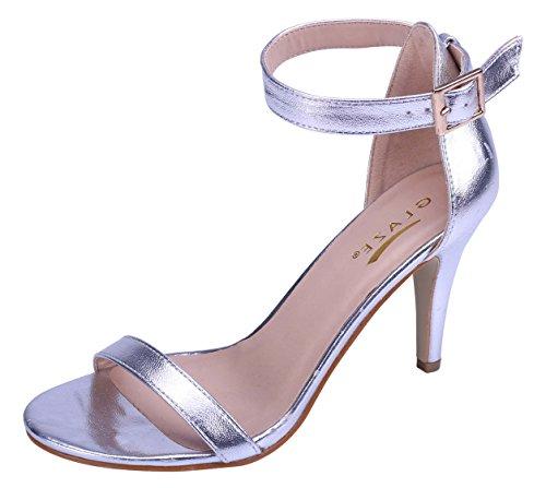 Dress Ankle Open Heel Women's Silver Toe Stiletto Strappy Glaze Sandal w0gq6FxFS