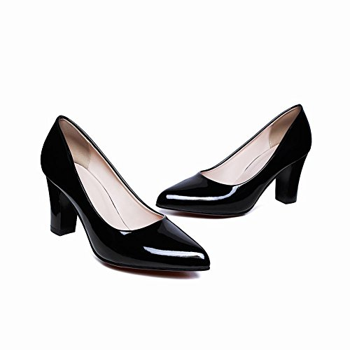 Mee Shoes Damen chunky heels ohne Verschluss Lackleder Pumps Schwarz