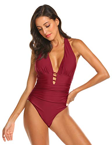 MAXMODA Women's Vintage Padded Push up One Piece Swimsuits Tummy Control Bathing Suits Swimwear Wine red M