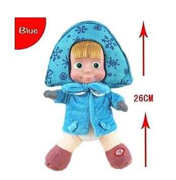 Dabixx Peluche ruso de Masha y Oso de Invierno para mascotas, juguete educativo para niños, felpa, Blue (26 Cm), 26 cm