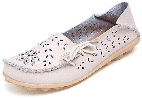 Slip Womens Sty Loafers 2 Ons Leather Fangsto Flat Slipper Shoes Beige Floral fwqv04