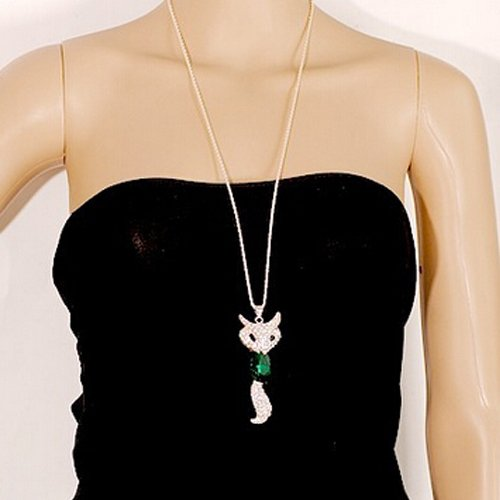 [New Cute Fox Crystal Pendant Sweater Chain Necklace Fashion Jewelry E0Xc(Green)] (Rafiki Costume With Cat)
