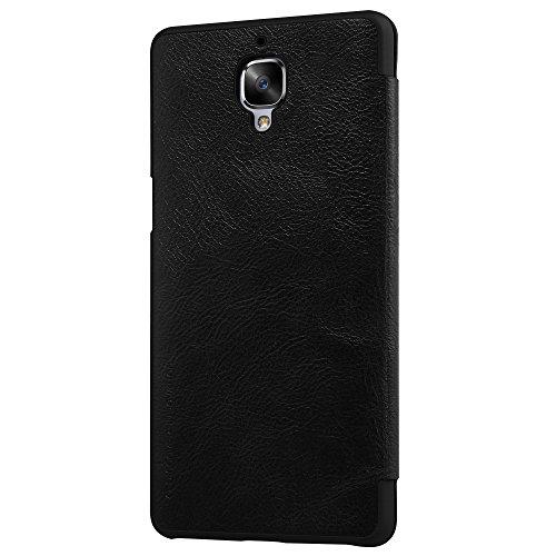 Meimeiwu Hohe Qualität Flip Up Leder Brieftasche Tasche Hülle - Handytasche Schale mit Karten-Slot Entwurf + Free Gift Stylus für OnePlus 3 A3000 - Schwarz