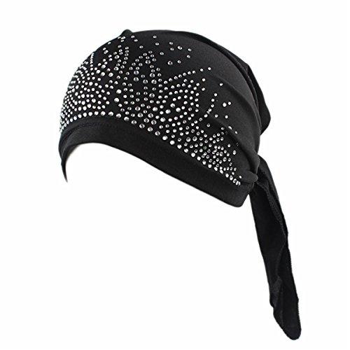 Qhome Womens Rhinestone Head Scarf Head Wrap Chemo Cap Spandex Bandana Du - Headwrap Biker