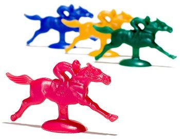 Plastic Horse and Jockey Figures (Assorted Colors) by Caufield's (Horse Racing Figurines)