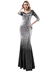 Black & Silver-3/4 Sleeves Ombre Sequins Mermaid Dress