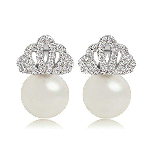 KnSam Women Platinum Plate Pierced Drop Earrings Imitate Pearl Crown Crystal Stainless Steel - Earrings Crown Peridot Heart