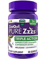 ZzzQuil PURE Zzzs, Triple Action Gummy, 3x Melatonin Sleep-Aid with Ashwagandha, Non-Habit Forming, Drug Free, 6mg Melatonin/Serving, 60 Gummies
