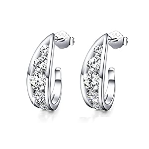 """Crystal Love""925 Sterling Silver Filigree Half Hoop Earrings Hollow AAA Zircon Ear Studs(diamond)"
