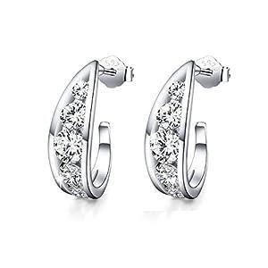 """""""Crystal Love""""925 Sterling Silver Filigree Half Hoop Earrings Hollow AAA Zircon Ear Studs(diamond)"""