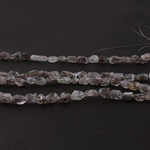 GemAbyss Beads Gemstone 1 Strand Natural Herkimer Diamond Faceted Nuggets Briolettes - Raw Diamond Beads 7mmx7mm-14mmx6mm 16 Inch Code-MVG-15317