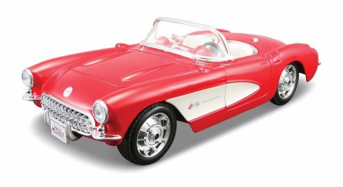 (Maisto Assembly Line 1957 Chevrolet Corvette 1/24 Scale Diecast Model Car Kit Red )