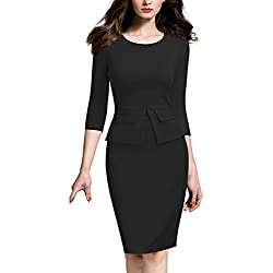 REPHYLLIS Women Colorblock Wear to Work Business Bodycon One-piece Dress L Black