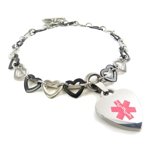 Black Heart Toggle Bracelet - My Identity Doctor - Pre-Engraved & Customized Women's Breast Cancer Toggle Medical Charm Bracelet, Black & Steel Hearts, Pink
