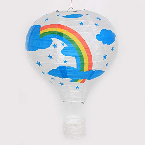 Jiaxingo 12 inch 30cm hot air balloon paper lanterns wedding decoration rainbow lantern hanging basket ornaments-Rainbow on white