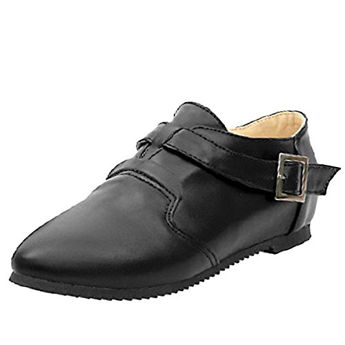 buckle Nonbrand slippers toe cap Ladies faux flats leather shoes Black casual HtrqtYwSx
