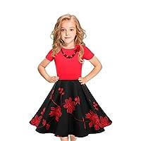 LEEGEEL Girls Vintage Dress Polka Dot Swing Rockabilly Dresses with Necklace Size 6-12 Girls Dresses