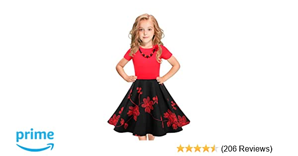 0fa4ec9443865 LEEGEEL Girls Vintage Dress Polka Dot Swing Rockabilly Dresses with  Necklace Size 6-12 Girls Dresses