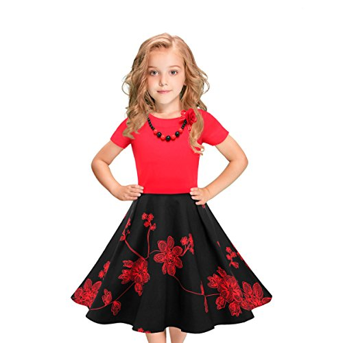 LEEGEEL Girls Short Sleeves Round Neck Swing Rockabilly Dress With Necklace (5-6 Years, Black/Red Flower) for $<!--$25.88-->