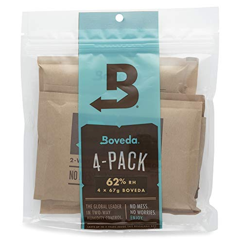 Boveda 62% RH 67 Gram, Patented 2-Way Humidity Control, (1) 4-Pack, Unwrapped, Resealable Bag; Up to 1 lb. (450g) of Cannabis, Terpene Protector, Ideal for Slightly Drier Buds, Joints/pre-Rolls
