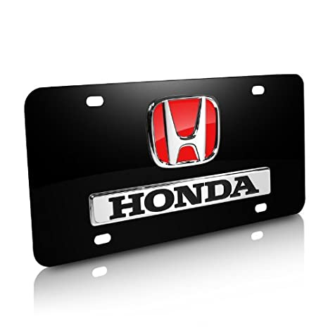 Honda 3D Logo and Nameplate in Red Black Metal License Plate Au-Tomotive Gold INC AG-X-D-R-HON-CB