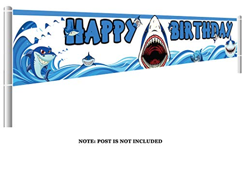 Bamboo Shark - Colormoon Large Shark Birthday Party Banner, Shark Party Decorations, Blue Ocean Party Supplies Decorations, Baby Shower Birthday Party Decorations (9.8 x 1.5 feet)