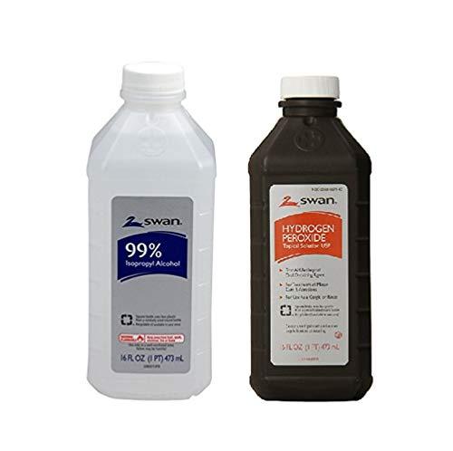 Swan Isopropyl Alcohol 99 Percent and Hydrogen Peroxide 16oz Pint 2 Bottle Set