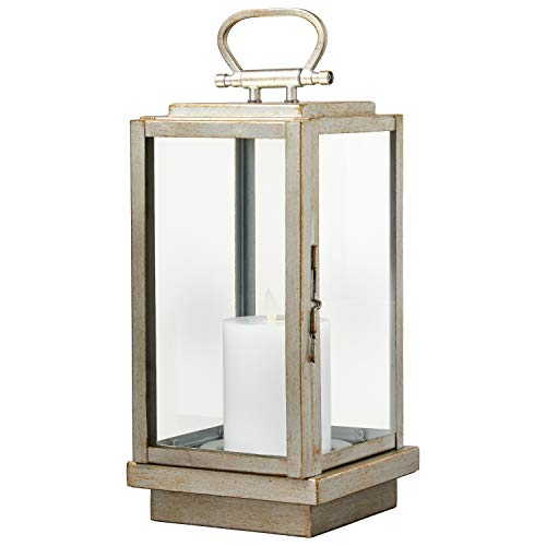 Stone & Beam Modern Decorative Outdoor Metal and Glass Lantern with LED Candle - 6 x 6 x 14 Inches, Silver, For Indoor Outdoor Use
