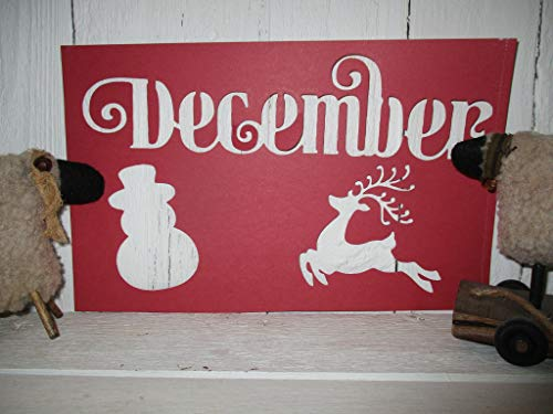 Vintage look DECEMBER reindeer snowman cardstock STENCIL new calligraphy primitive antique style for painting YOU RECEIVE QTY ()
