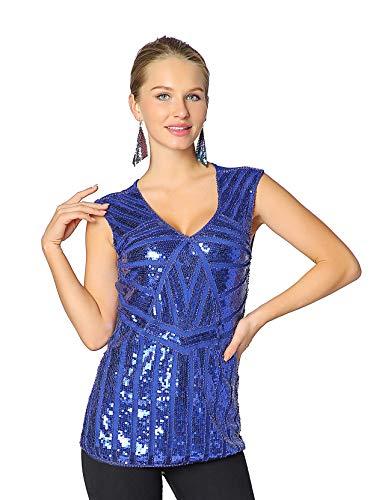 Metme Women Vintage V Neck Slight Loose Flashy Sequin Sparkly Vest Tops Tank Tops Bright Blue -