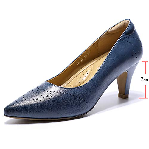 Mona flying Womens Leather Pumps Dress Shoes High Heels Med Heel Pointed Toe Formal Office Shoes for Women Ladies