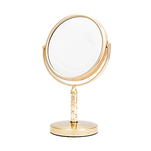 Danielle 5X Magnification Midi Quilted Vanity Mirror, Gold ()