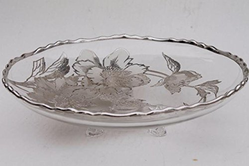 (Vintage Sterling Silver Overlay Flower Pattern 3 footed 7 1/2