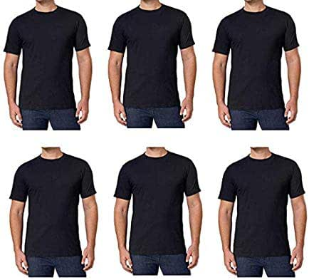 Kirkland Signature Men's Crew Neck T Shirts 6 Pack Black 100% Combed Cotton Tagless Soft Comfortable T-Shirts