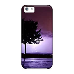 Hot Purple Lightening First Grade Tpu Phone Case For Iphone 5c Case Cover