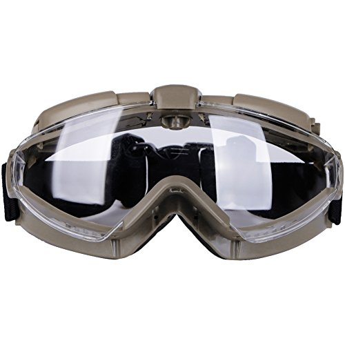 Tactical Airsoft Goggles with Fan and Clear Lens Anti-Fog and 100% Anti-UV for Outdoor Motorcycling Airsoft Paintball Hunting BB Gun (Tan)
