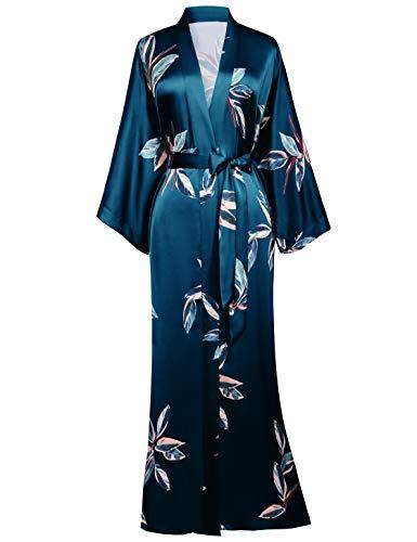 BABEYOND Dames ochtendjas bladerpatroon maxi lange kimono zomer satijn badjas dames strandjurk lichte slaapjas