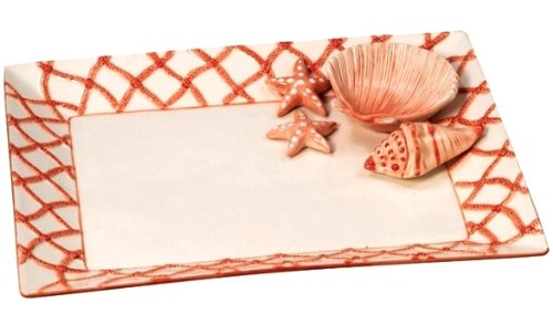 Chip and Dip Seashell Coral Serving Dish for sale  Delivered anywhere in USA