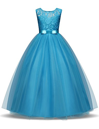 NNJXD Girl Lace Sleeveless Flower Party Tutu Princess Tulle Dress Size (170) 13-14 Years Blue