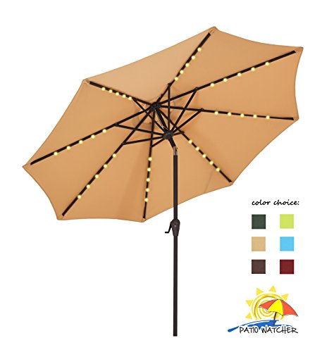 Patio Watcher 9 FT Outdoor Solar Powered Patio Umbrella, 40 LED with 2 Charge Mode(Solar and Adaptor),250GSM Fabric with Push Button Tilt and Crank,Beige by Patio Watcher