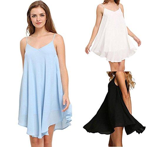 vestido de mujer,Switchali Mujer verano casual gasa vestido sin mangas moda mini Vestido de playa atractivo vestido de Fiesta Nocturna hermosa Vestir ropa para señora barato Azul