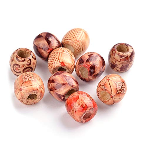 Pandahall 200pcs 16x17x17mm Mixed Color Round Printed Wooden Beads 7mm Large Hole Loose Wood Spacer Charms for DIY Crafting Jewelry Making ()
